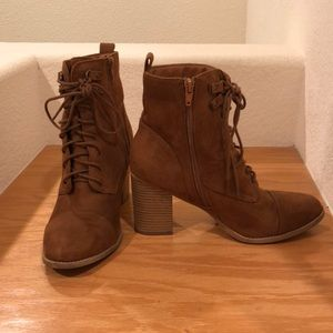 Brown cognac ankle booties F21 X2B stacked laces